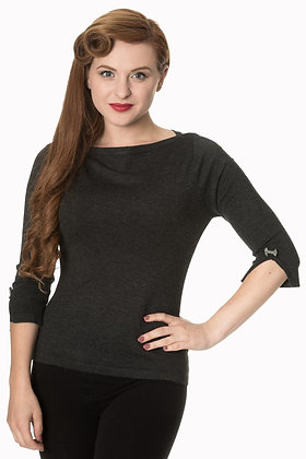 Audrey knit top in charcoal