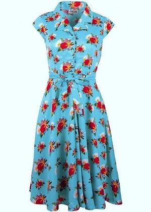 Vintage rose print shirt dress in turquoise