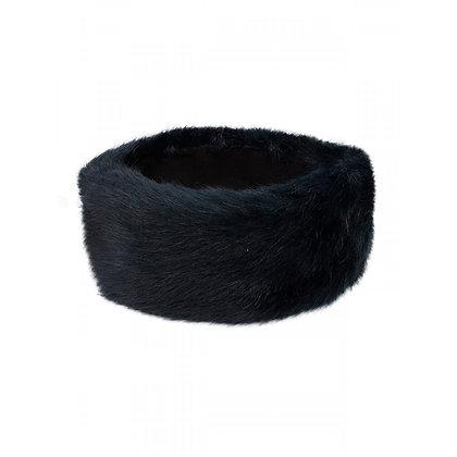 Faux fur headband navy