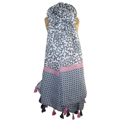 Tassle print scarf in grey and pink