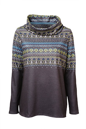 Roll neck relaxed jumper in grey
