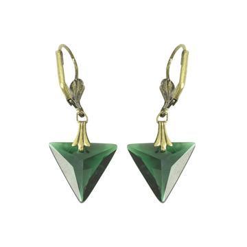 Emerald green triangle drop earrings