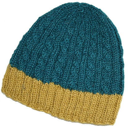 Knit beanie in teal and mustard