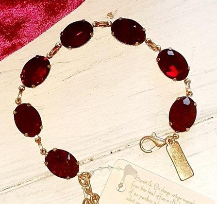 Ruby red oval stone bracelet