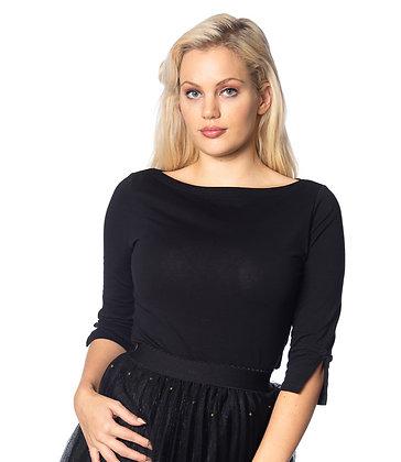 Audrey jersey top in black