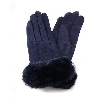 Faux fur trim gloves in navy