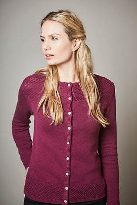 Vintage cotton knit cardigan in plum