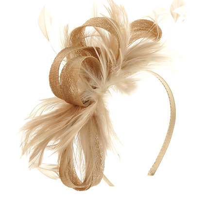 Taupe fascinator on band
