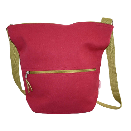 Thick Cotton Bucket Slouch Bag in raspberry