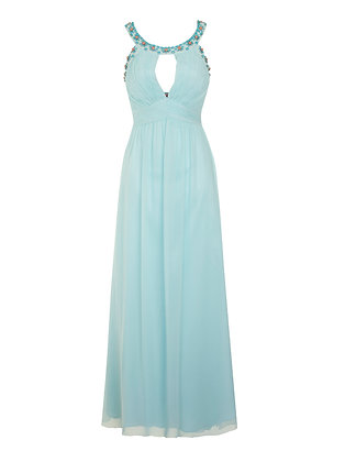 Embellished gown in turquoise