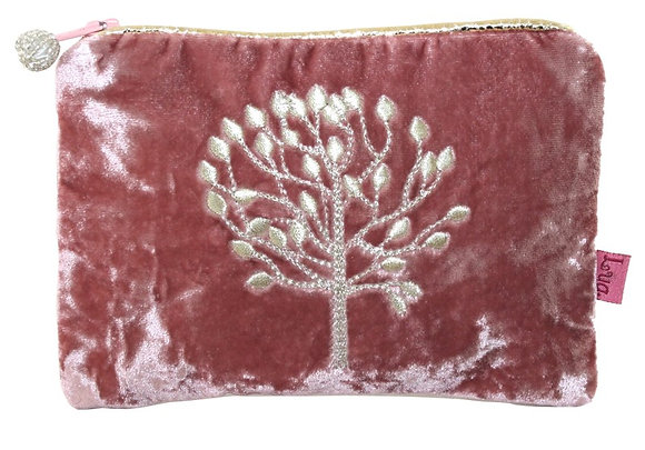 Mulberry velvet purse in dusty pink