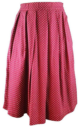 Heart print skirt in burgundy