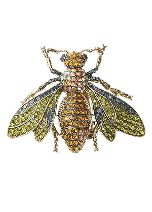 Amber Crystal Bug Hairclip & Brooch