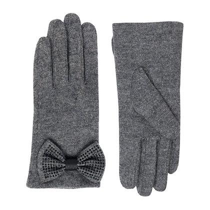 Jolie bow glove in grey