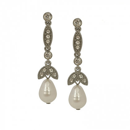 Freshwater pearl and diamonte drop earrings