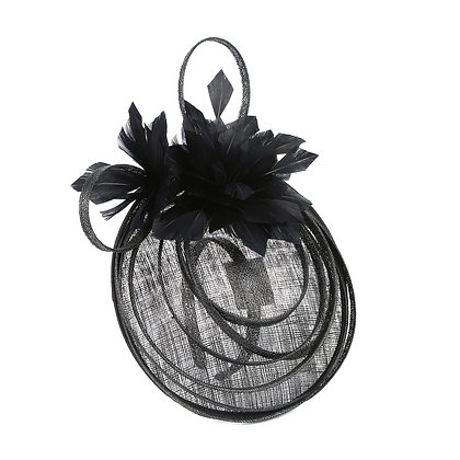 Black swirl capette fascinator on band