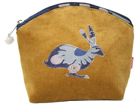 Hare cosmetic purse in ochre