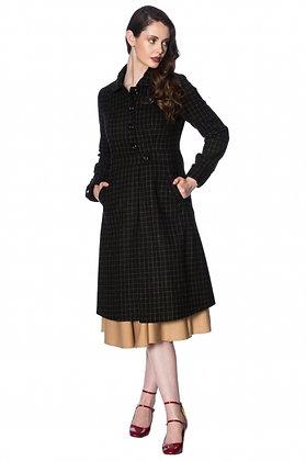 Check coat in black and tan