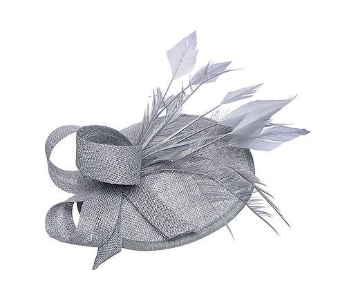 Vintage capette fascinator silver grey