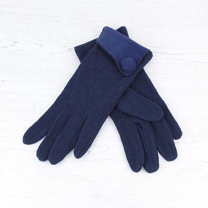 Button gloves in blue