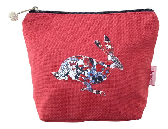 Hare cosmetic purse in coral