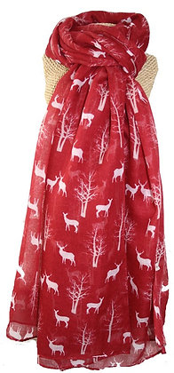 Stag & tree print scarf in red