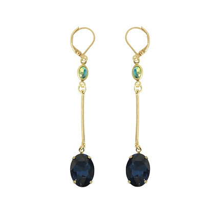 Sapphire blue long drop earrings