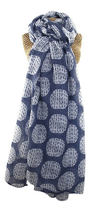 Ovoid print scarf in blue