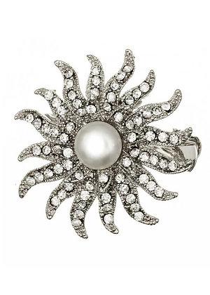 Silver pearl swirl brooch