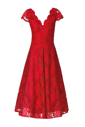 Swing lace dress in deep red