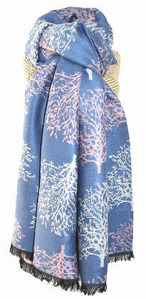 Winter tree shawl in china blue and pink