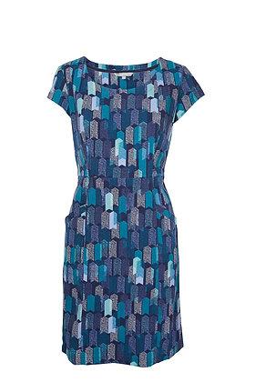 Block cord dress in teal