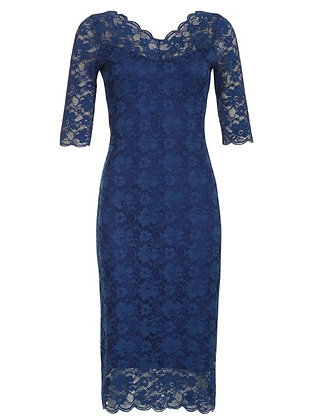 Lace pencil dress in navy blue