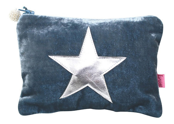Blue velvet star purse
