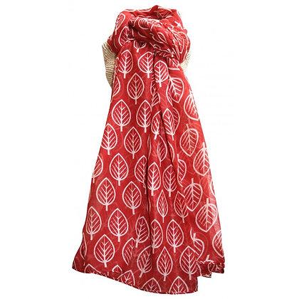 Leaf scarf in brick red