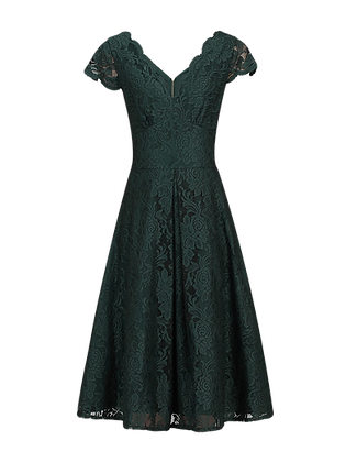 Swing lace dress in forest green