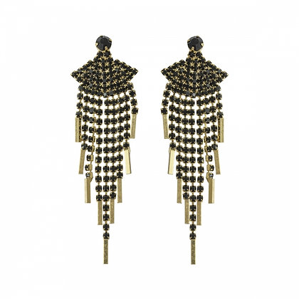Crystal fan black long drop earrings