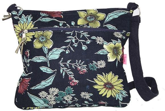 Messenger bag in navy floral cord