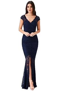 Lace full length gown in navy