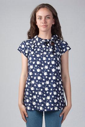 Teapot blouse in navy