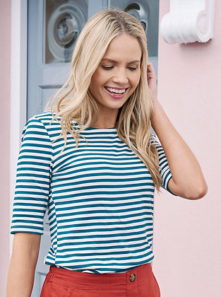 Summer stripes top in teal