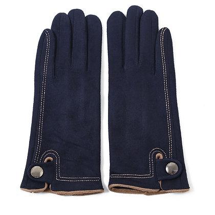 Faux suede stitch gloves navy