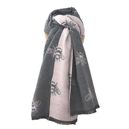 Bee shawl in grey and pale pink