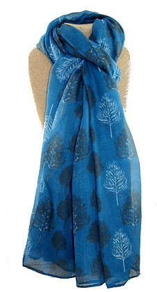 Sketch tree print scarf in petrol