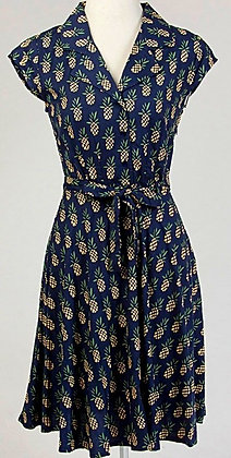 Pineapple dress in navy