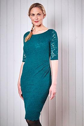 Elegant lace pencil dress in teal