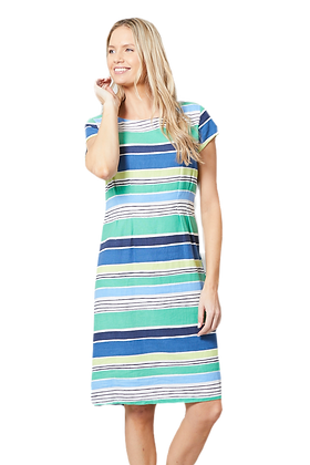 Stripe linen dress in blue