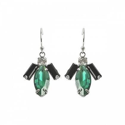 Angel earrings in emerald