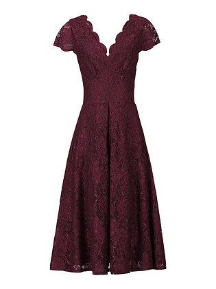 Swing lace dress in deep burgundy