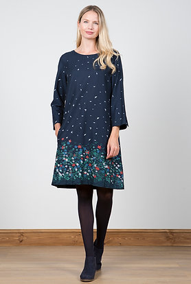Birds and flower border dress